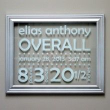 Floating Glass Frame Birth Announcement for Nursery Decor. Newborn Sign in White & Silver
