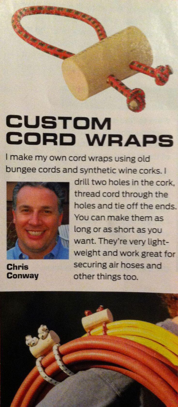 Make custom cord wraps out of old bungee cords. || El del articulo lo hace con un corcho sintetico, y el del link con un palo de escoba (de madera). Tanto da, pero es mas facil el corcho. Eso si, ha de ser un corcho entero, sacado con el sacacorchos yankee. #Workshoporganization