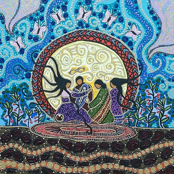4 Una esposa del Sol se convierte en un hermoso camino plano, en camino blanco. Ella es su propio sendero y acompaña a los otros para que los otros encuentren su propio camino. Anima al compañero,