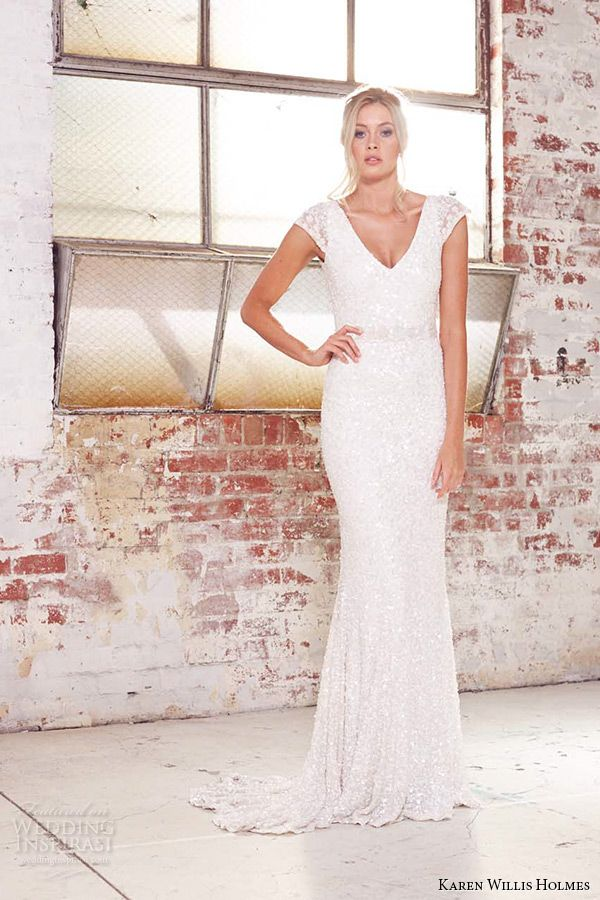 kwh by karen willis holmes 2015 bridal cap sleeves v neck beaded sheath wedding dress caitlyn