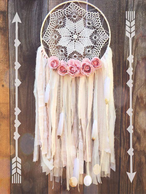 Floral Creme & Pale Pink Sparkle Shabby Chic Boho Zigeuner Lace Herz Häkeldeckchen Dreamcatcher / / Baby Kinderzimmer Dekor
