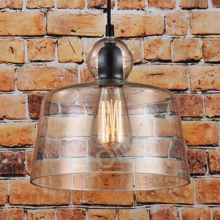 Modern Glass Pendant Light Industrial Ceiling Lamp Vintage Design: Amazon.co.uk…