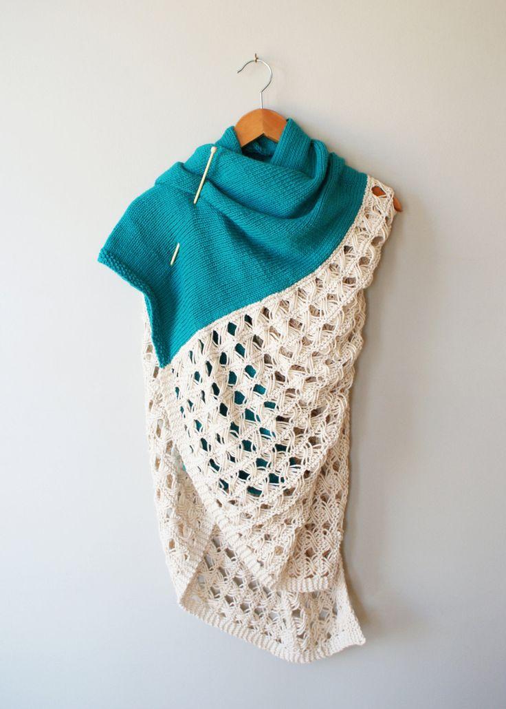 "Midknits: DIY Knitting PATTERN - Duplicate Stitch Squirrel Stockinette & Lace Throw Blanket / Blanket Shawl / Scarf - 42"" x 52"" (2016013) by Erin Black"
