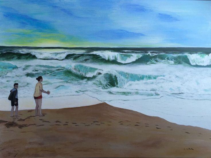 Peinture Vagues océaniques (Peinture),  80x60 cm par Christelle Cottrelle Peinture acrylique sur toile. Représentation de l'océan en fin de journée en été. Une journée avec un océan mouvementé comme on peut le voir avec toute cette écume qui se dépose sur le sable.  Les vagues viennent s'écraser sur la plage de Ondres dans les Landes.