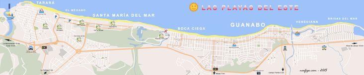 Mapa de las Playas del Este de la Habana, Tarará, el Mégano, Santa María del Mar, Boca Ciega y Guanabo.