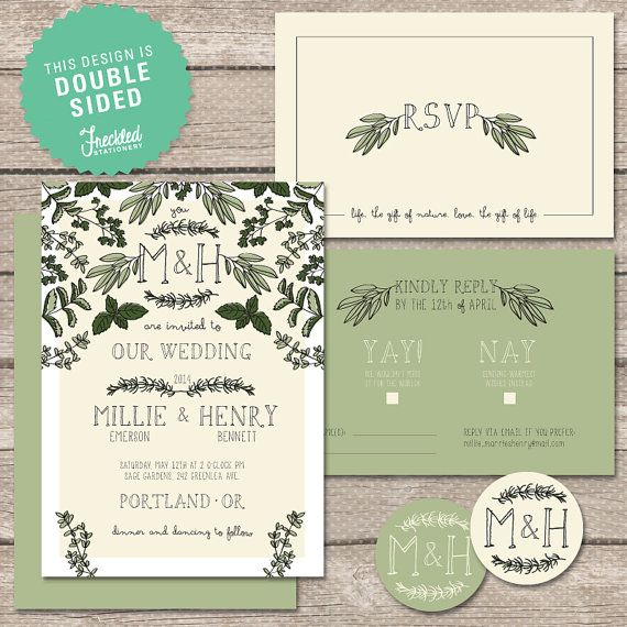 Wedding Invitation Printable PDF Thyme for by FreckledStationery, $65.00