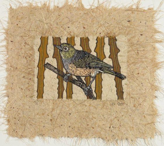 Jo Ogier, Silvereye (left), woodcut on harakeke paper (280 x 290), 1 of 1, 2013. Sold.