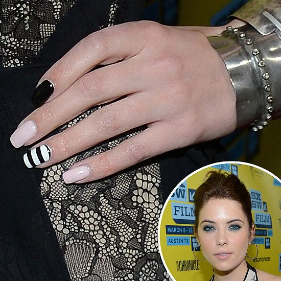 Ashley Benson: Ashley Benson didnt stick with just one shade at the SXSW premiere of Spring Breakers. She paired a pale-pink and black polish with a black-and-white striped accent nail.