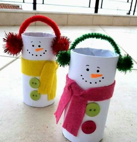 #Schneemann aus #Klorollen - süße Bastelei für den #Winter mit #Kindern