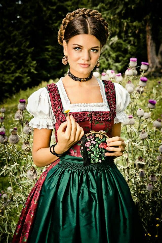 Dirndl traditional dress, Germany. Love this look ESPECIALLY with the milkmaid braid