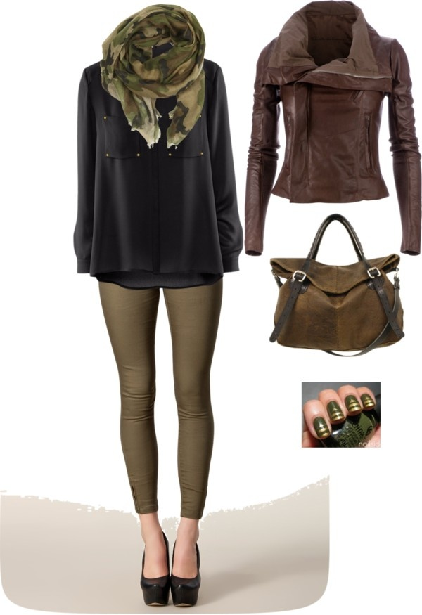 """""""Army green skinnies & camo scarf with rick owens moto jacket"""" by shelovesmakeup on Polyvore"""