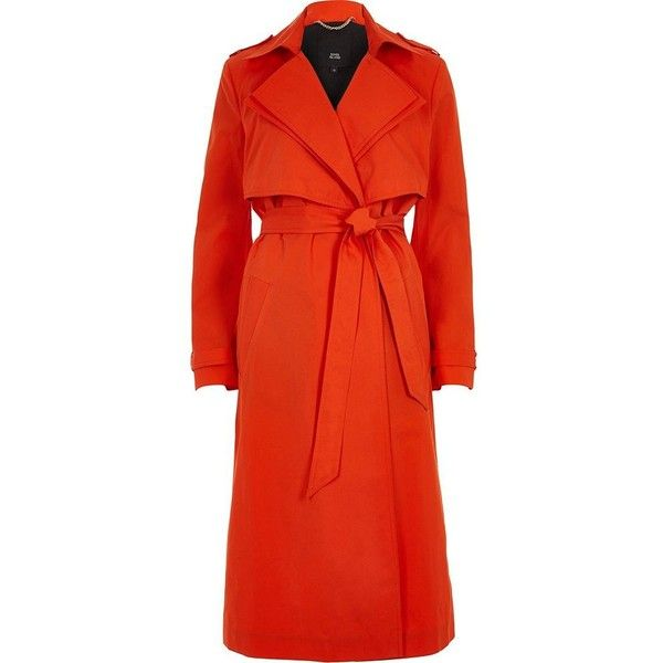 River Island Red double collar belted trench coat ($170) ❤ liked on Polyvore featuring outerwear, coats, coats / jackets, red, women, tall coats, river island coats, belted trench coat, river island and long sleeve coat