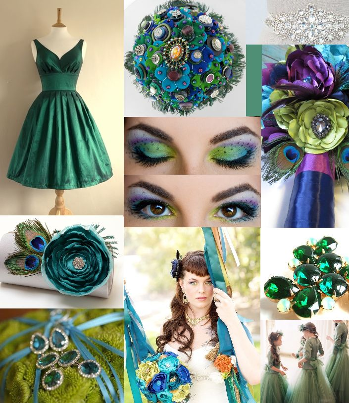 Southern belle events peacock mood board. I know it's too much like my wedding but I'm a sucker for pretty.