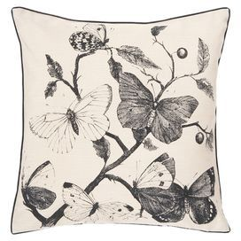 Showcasing an artful butterfly design in charcoal black, this lovely pillow brims with natural appeal.  Product: PillowConstruction Material: Polyester coverColor: Khaki and coalFeatures: Zipper closureCleaning and Care: Blot stains