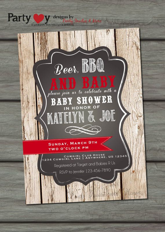 Beer BBQ and Baby Shower Coed Baby Shower by PartyInvitesAndMore
