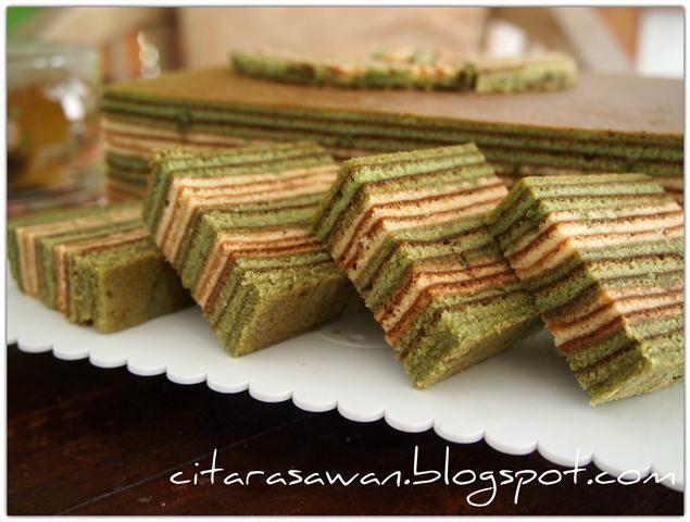 Resipi Citarasawan   Koleksi Resepi Kakwan Kek Lapis Teh Hijau / Greentea Layer Cake