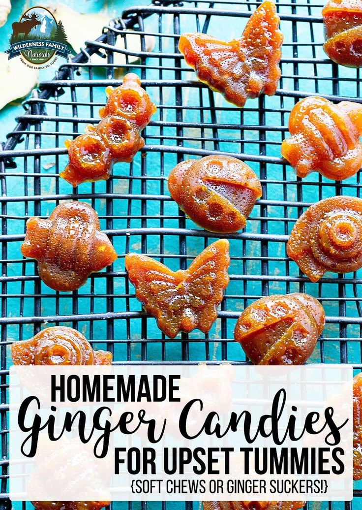 Homemade Ginger Candies For Upset Tummies! (soft chews or ginger suckers!) | Harness ginger's power in these ginger candies for upset stomach! Gentle enough for children, these homemade ginger candies can help calm, soothe, and ease the pain of indigestion or nausea within minutes. Recipe for soft chews AND suckers! | WildernessFamilyNaturals.com