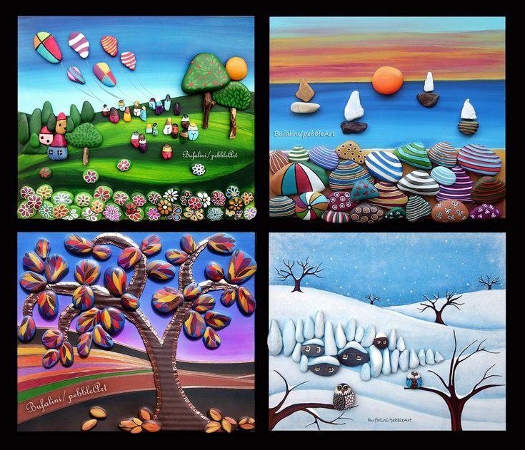 """""""le quattro stagioni"""" paesaggi naif, realizzati mediante assemblaggio di sassi dipinti"""