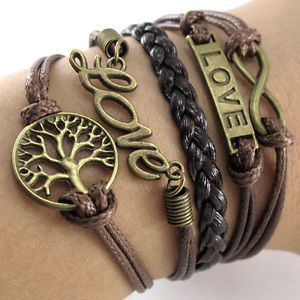 Leather Bracelet with Love, Tree, and Infitiy Charms