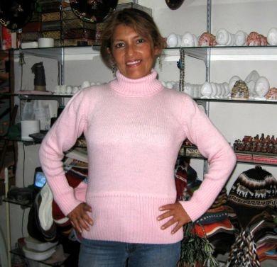 Rosa #Damen #Rollkragen #Pullover aus #Alpakawolle