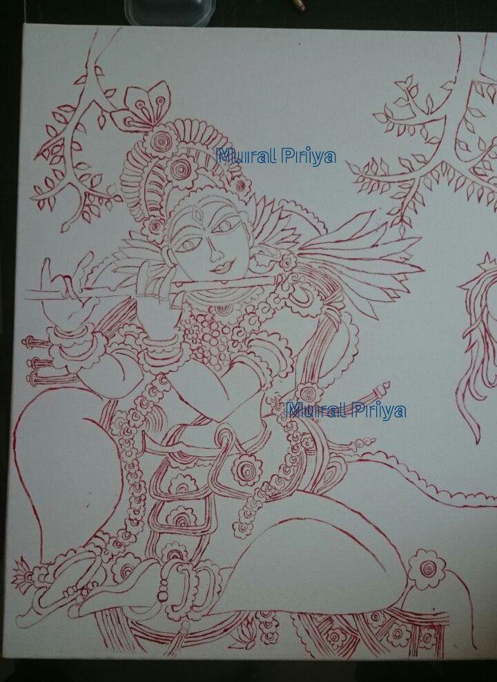 My Kerala Mural Painting Experiments: My First Mural Painting --KRISHNA