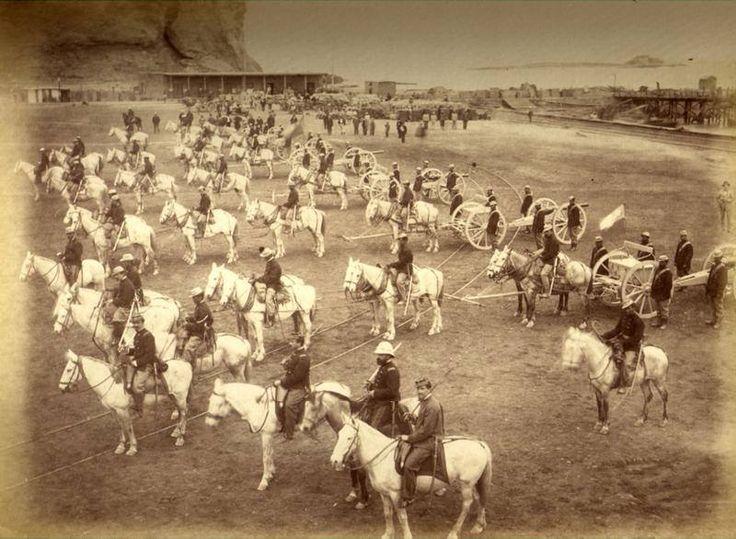 Arica. Regimiento de Artillería Nº 2, Artillería Krupp. Batería de los Tordillos. Fotografía Díaz & Spencer.