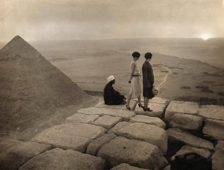 British Tourists on top of the Khufu Pyramid, 1925
