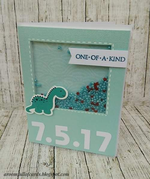 χειροποίητη shaker κάρτα με την ημερομηνία της βάφτισης για ένα μικρό αγοράκι!