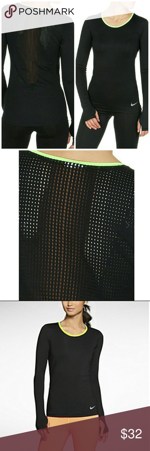 NEW Nike Pro Hypercool Fitness Shirt L/S Top Premium breathability and maximum comfort, the Nike Pro Hypercool fitted long-sleeve women's top is designed with perforations in key areas and flat seams for superior ventilation and minimal irritations during practice or under the game-day uniform.  *BeRound neckline with green tape *Slim fit *Long sleeve with back of hand warmers *Large-area mesh insert on the back for optimum cooling effect *DRI FIT wicks sweat away from the body and keeps it…