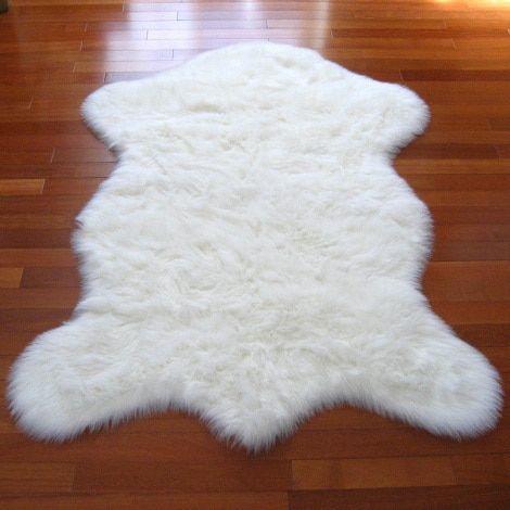 Snowy White Faux Polar Bear Pelt Sheepskin Rug (2'3 x 3'7) (2x4), Size 2' x 4'