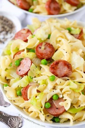 Cabbage and Noodles is a quick and easy Polish recipe with tender sweet cabbage, egg noodles and browned sausage tossed in butter, salt & pepper.