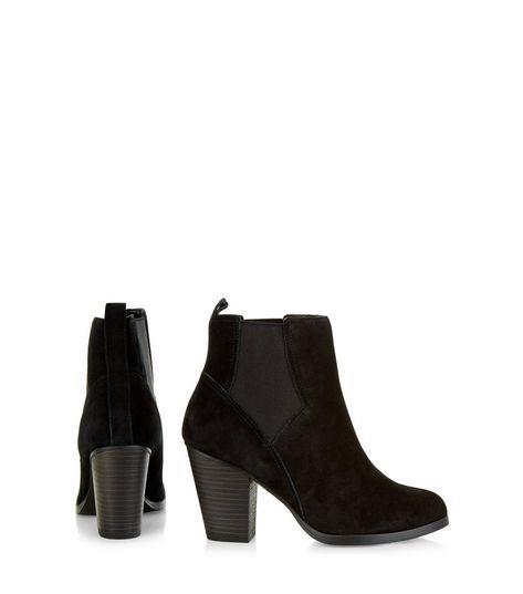 Black Suede Western Chelsea Boots  | New Look