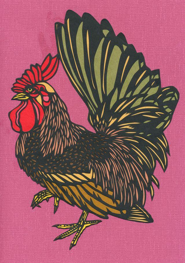 オリジナル切り絵★『鶏にわとり②』★飾り物