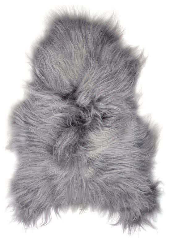 Schapenvachtje – Vloerkleed IJslandse Schapenvacht - ZILVER GRIJS - Zeer Lang Haar - 100% ECHT Lamsvachtje – 110 x 60 cm   @giftryapp