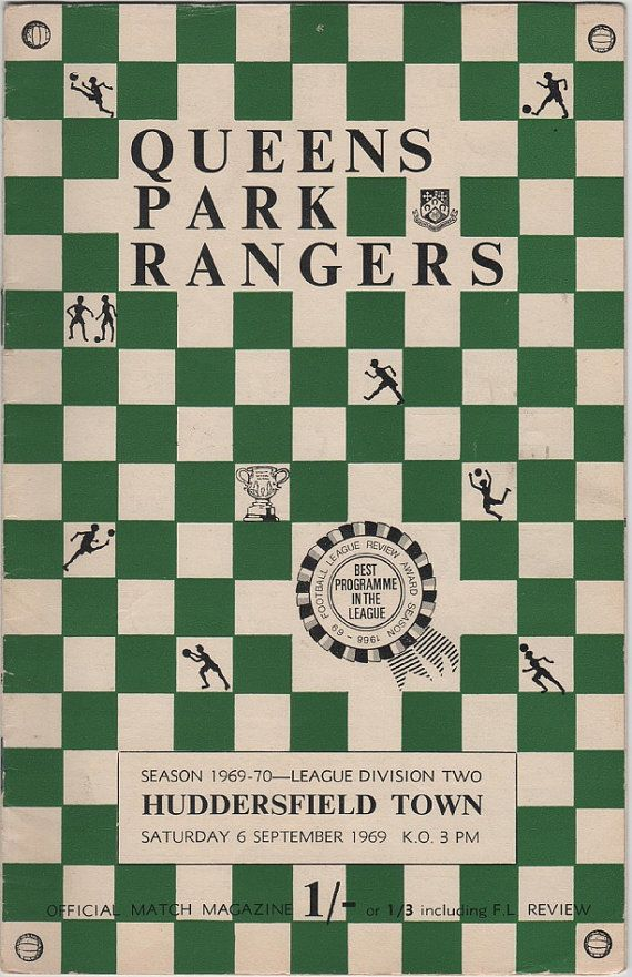 Vintage Football (soccer) Programme - Queens Park Rangers v Huddersfield Town, 1969/70 season #football #soccer