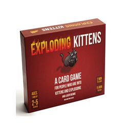 Exploding Kittens is a card game for people who are into kittens and explosions and laser beams and sometimes goats. Family-friendly, party game for 2-5 players (up to 9 players when combined with any other deck). This is the most-backed project in Kickstarter history and all cards feature illustrations by The Oatmeal. Includes 56 cards (2.5 x 3.5 inches), box, and instructions. This box, like 99.99% of boxes, does not meow.