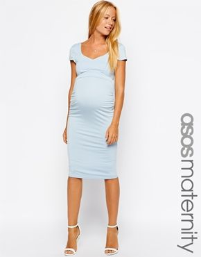 ASOS Maternity Bodycon Dress With Sweetheart Neck With Cap Sleeve
