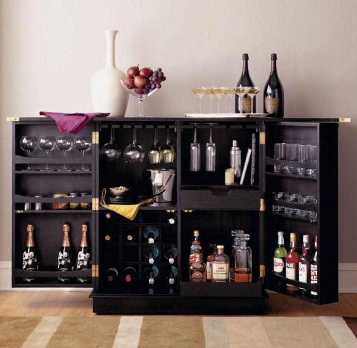 new steamer folding wine liquor bar cabinet in black
