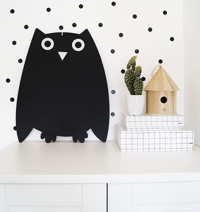 kidsroom, detail, owl, dots, hay boxes, cactus, black, white and green, scandinavian, scandistyle, interior