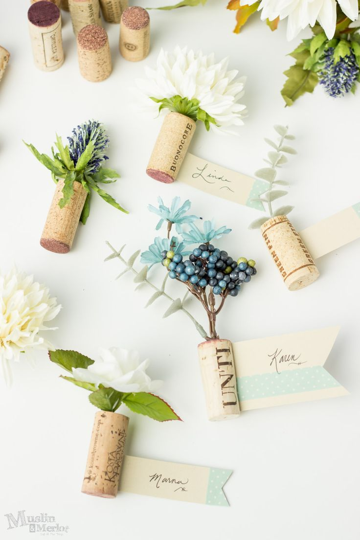 Make these pretty wine cork place cards for your next party!