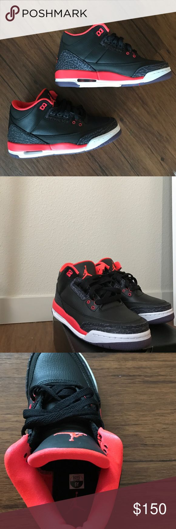 "Air Jordan Retro 3 size 5Y Air Jordan retro 3 ""crimson"" worn once.  These are a boys size 5, which correlates to about a 6 in womens. Jordan Shoes Sneakers"