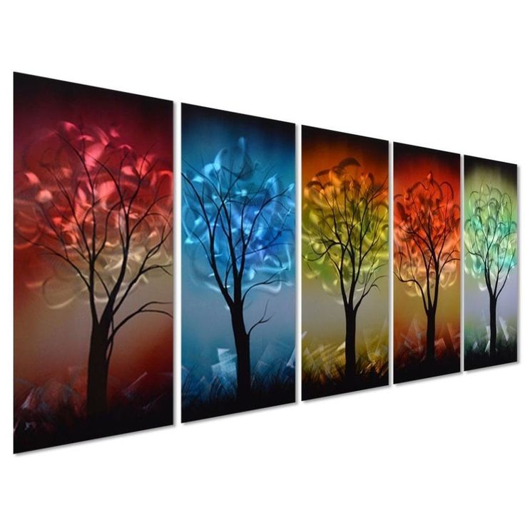 Colorful tree metal wall decor art abstract sculpture artwork for home deco