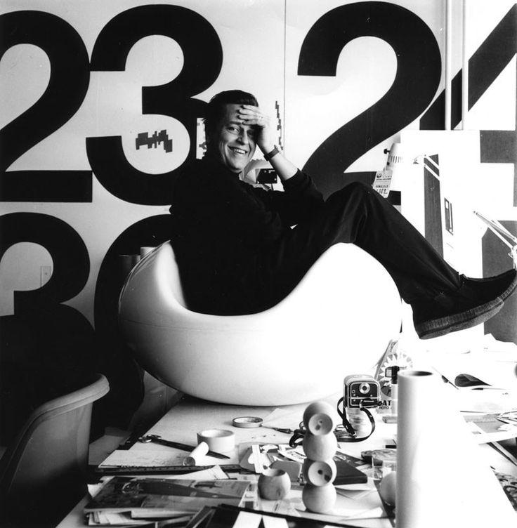 eero aarnio in his pastil chair 1967