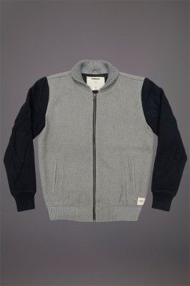 WEMOTO LAMAR JACKET FROST GREY DARK NAVY  WEMOTO A/W 14. Wool felt shell made from a 60/40 wool acrylic mix with a polyester lining.  http://www.abandonshipapparel.com/product/wemoto-lamar-jacket-frost-grey-dark-navy/