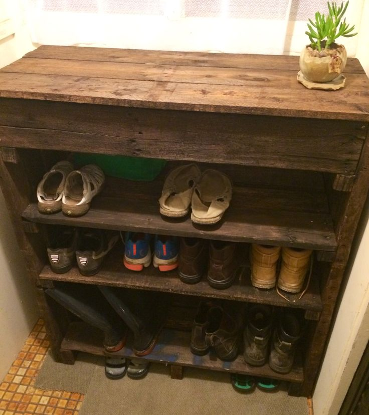 54 best projects for a rainy day images on pinterest for Shoe rack made from pallets