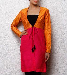 Orange & Pink Cotton Silk Wrap Jacket Indianroots