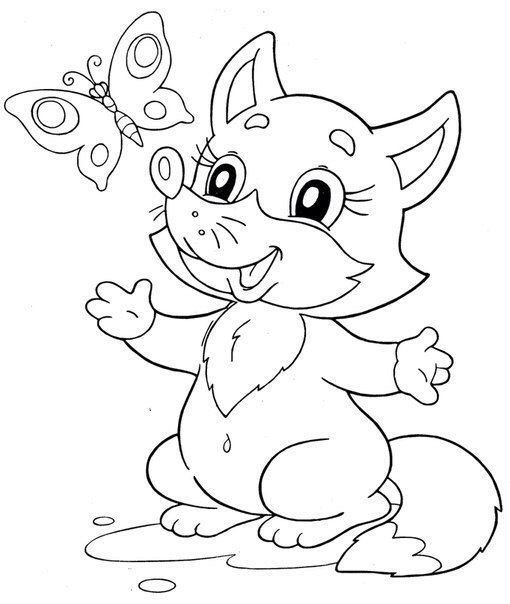 fox & butterfly coloring page