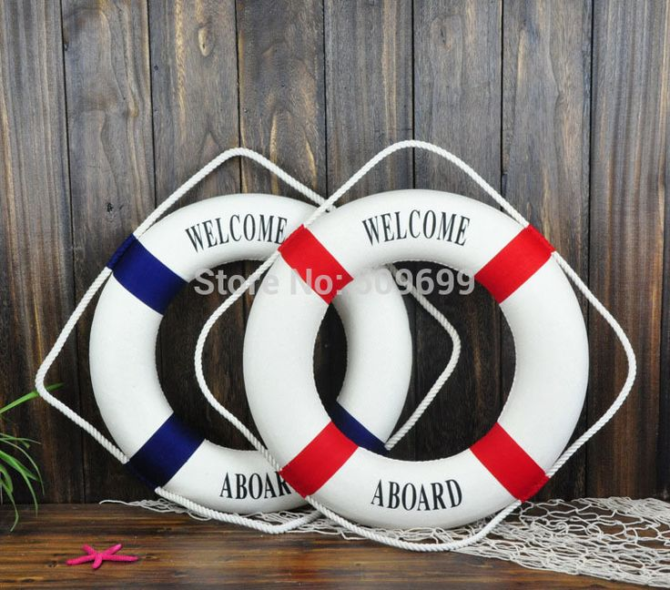 """New year decoration  Mediterranean  35CM """"welcome aboard"""" Lifebuoy Home Decoration Bar Living Room decor- free shipping"""