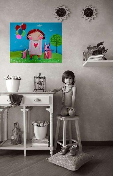 Schönes Kinderbild auf Keilrahmen.   Ein Zauberhaftes geschenk zur Geburt,Taufe oder einfach so.   Das Bild ist mit Acrylfarben gemalt,die Seiten sind