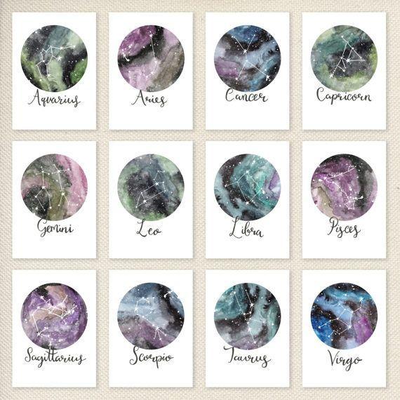 Sternzeichen-Konstellationen sind eine reproduktionsdruck von meinem original Aquarell-Malerei und digitale Zeichnungen. Sparen SIE – alle 12 Drucke i…